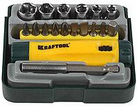 Набор KRAFTOOL Отвертка реверсивная с битами, адаптером и торцевыми головками, Cr-V, 18 предметов