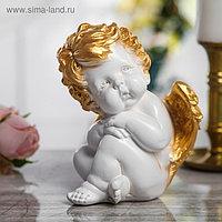 """Сувенир """"Ангел сидячий"""" 17 см, белый с золотом"""