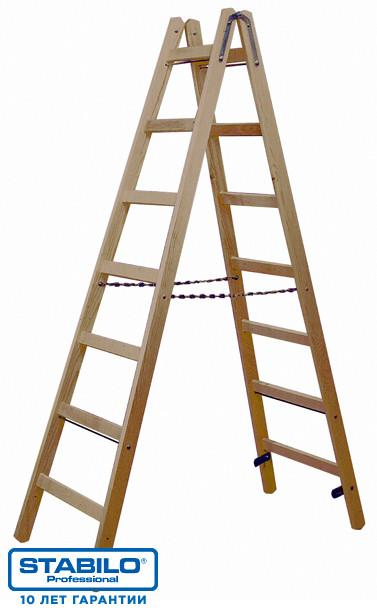Двусторонняя деревянная лестница-стремянка с перекладинами 2х8 пер. KRAUSE STABILO