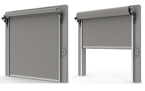 Стальные рулонные ворота с вальным электроприводом из профиля RHS117, RHS117P