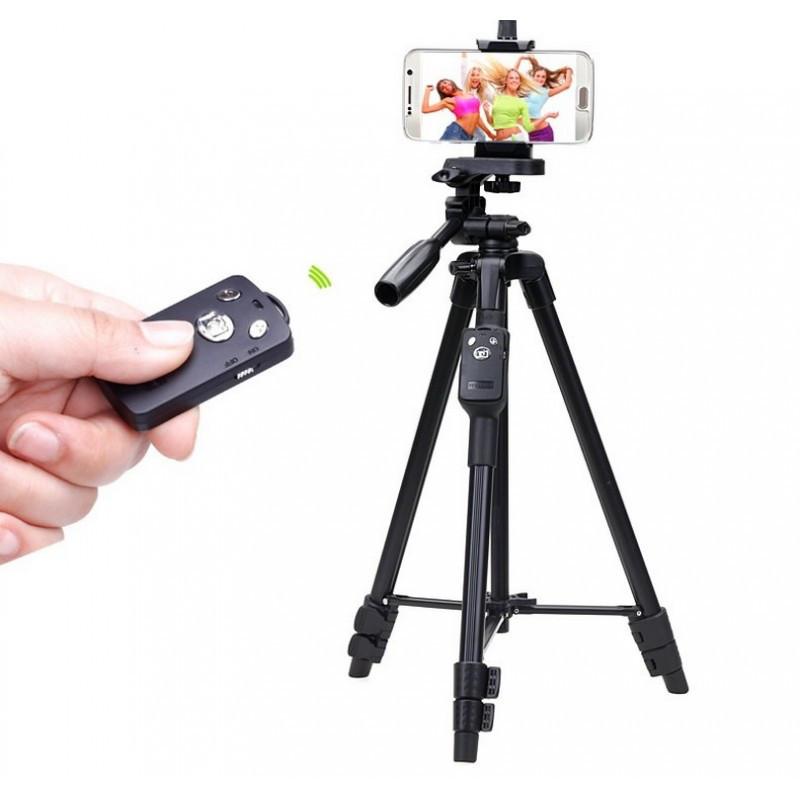 Штатив Yunteng 5208 для смартфона, планшета и фотокамеры с Bluetooth-кнопкой (43-125 см)