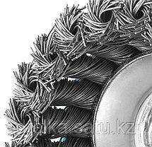 """ЗУБР """"ЭКСПЕРТ"""". Щетка чашечная для УШМ, плетеные пучки стальной проволоки 0,5мм, 120ммхМ14, фото 2"""