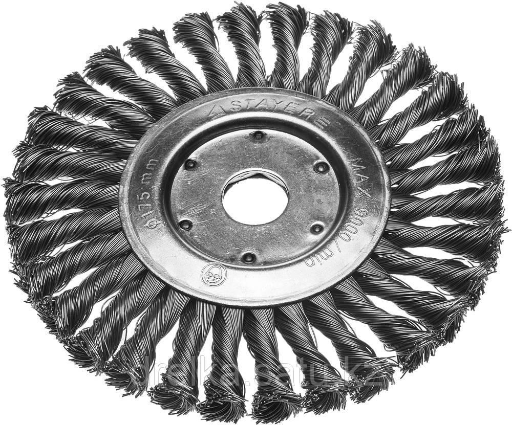 Щетка STAYER дисковая для УШМ, сплетенные в пучки стальная закаленная проволока 0,5мм, 175мм/22мм