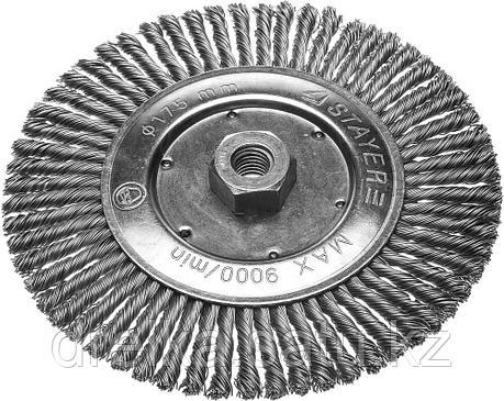 Щетка STAYER дисковая для УШМ, сплетенные в пучки стальная закаленная проволока 0,5мм, 175мм/М14 , фото 2