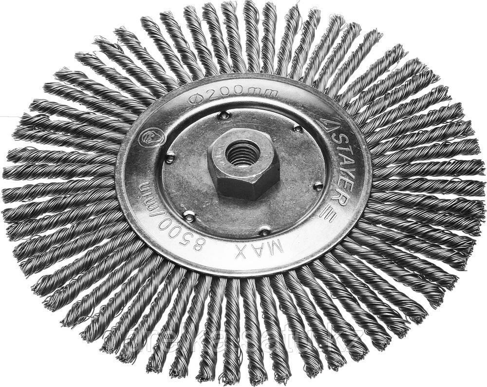 Щетка STAYER дисковая для УШМ, сплетенные в пучки стальная закаленная проволока 0,5мм, 200мм/М14