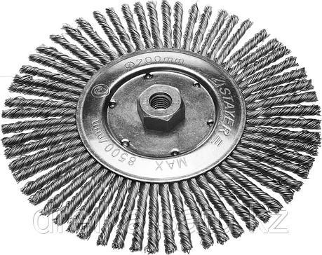 Щетка STAYER дисковая для УШМ, сплетенные в пучки стальная закаленная проволока 0,5мм, 200мм/М14 , фото 2