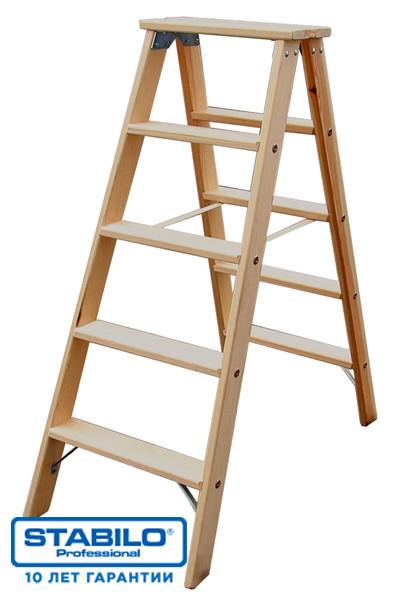 Двусторонняя деревянная стремянка со ступенями 2х7 ступ. KRAUSE STABILO