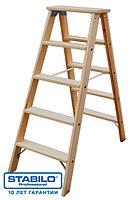 Двусторонняя деревянная стремянка со ступенями 2х7 ступ. KRAUSE STABILO, фото 1