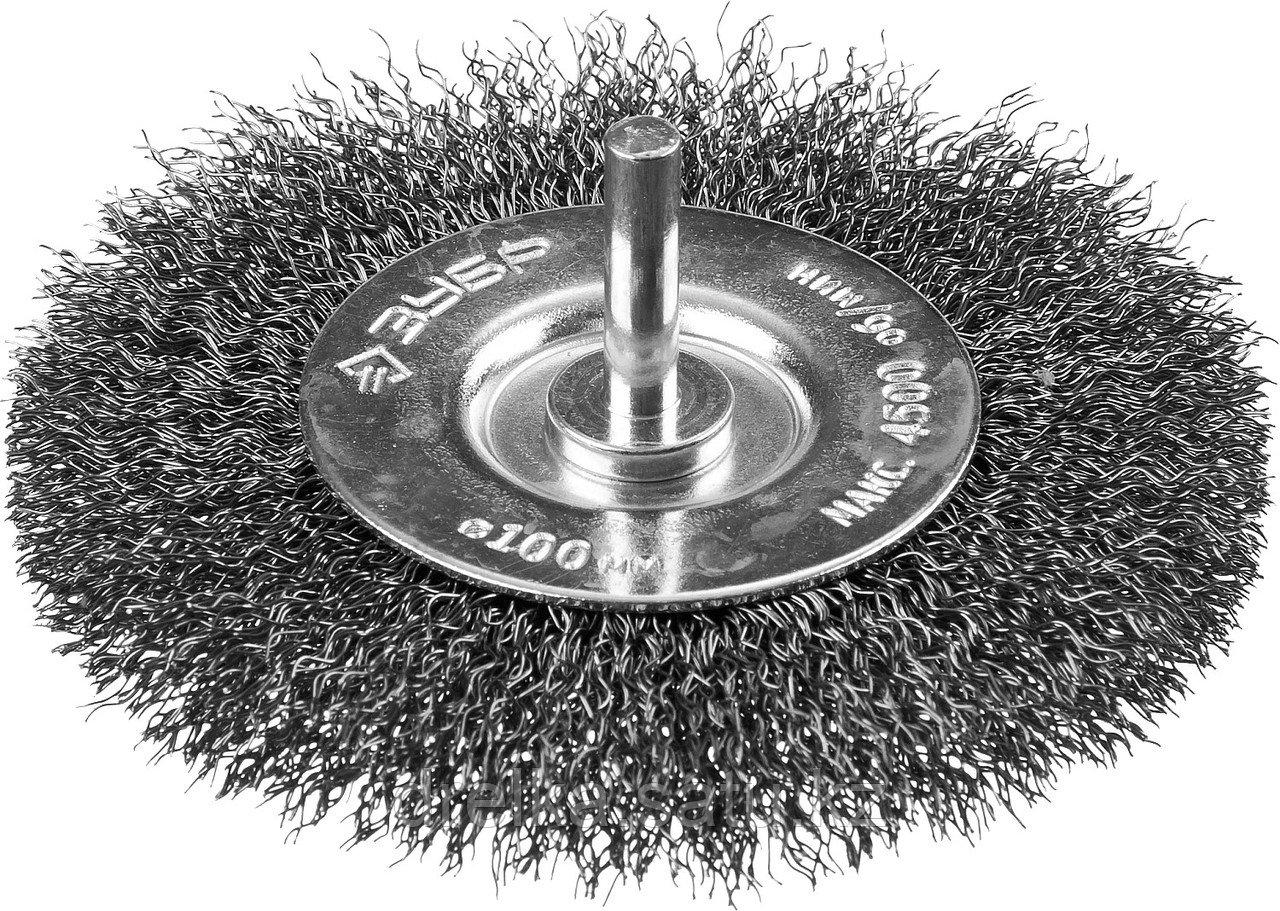 """ЗУБР """"ПРОФЕССИОНАЛ"""". Щетка дисковая для дрели, витая стальная проволока 0,3мм, 100мм"""