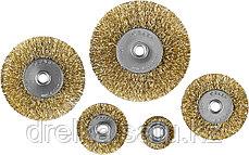 """ЗУБР """"ПРОФЕССИОНАЛ"""". Набор щеток дисковых для дрели, витая стальная латунированная проволока 0,3мм, 5 шт, фото 3"""