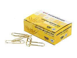 Скрепки SILWERHOF 28 мм, золотистые, 100 шт/упак