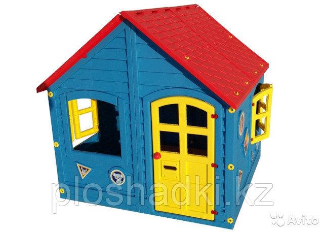 Детский игровой домик Синий, с крышей, ставнями, дверью