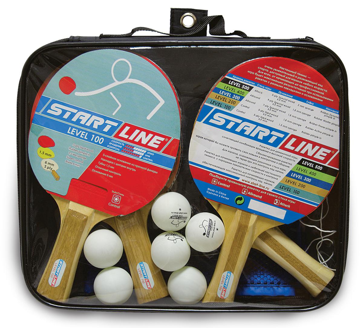 Набор START LINE: 4 Ракетки Level 100, 6 Мячей Club Select, Сетка с креплением, упаковано в сумку на молнии с
