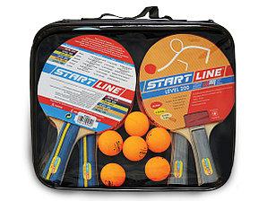 Набор START LINE: 4 Ракетки Level 200, 6 Мячей Club Select, упаковано в сумку на молнии с ручкой.