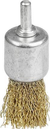 Щетка кистевая для дрели, витая стальная латунированная проволока 0,3мм, 24мм, STAYER, MAXClean, фото 2