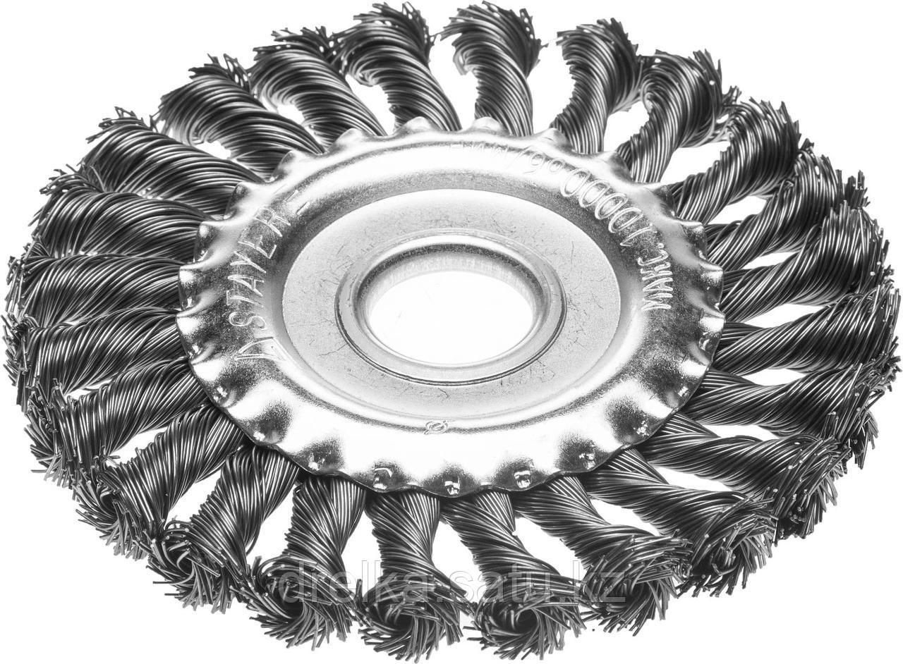 """STAYER """"PROFESSIONAL"""". Щетка дисковая для УШМ, жгутированная стальная проволока 0,5мм, 175ммх22мм"""