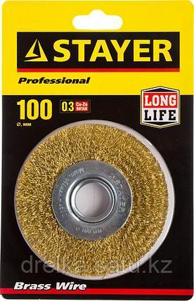 """STAYER """"PROFESSIONAL"""". Щетка дисковая для УШМ, витая стальная латунированная проволока 0,3мм, 100ммх22мм, фото 2"""