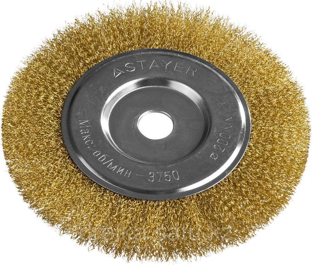 """STAYER """"PROFESSIONAL"""". Щетка дисковая для УШМ, витая стальная латунированная проволока 0,3мм, 200ммх22мм"""