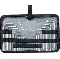 Набор ключей имбусовых HEX-TORX, 18 шт: HEX 1,5–10 мм, T10-T50, CrV, короткие, сатин. 12314 (002)