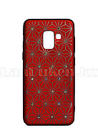 Чехол для смартфона Samsung A8 2018 Remax со стразами красный