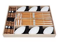 9581 FISSMAN Набор для суши 24 пр. на 6 персон в деревянной коробке (керамика, бамбук)