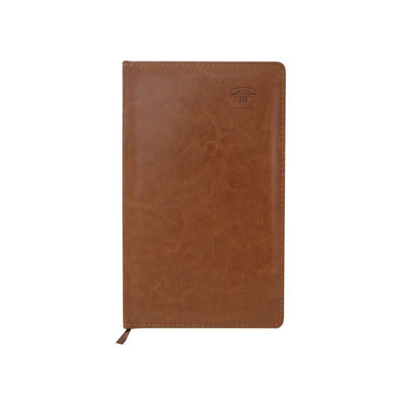 """Телефонная книга INDEX """"NATURE"""" искуственная кожа, А5, 192 страницы, коричневая"""