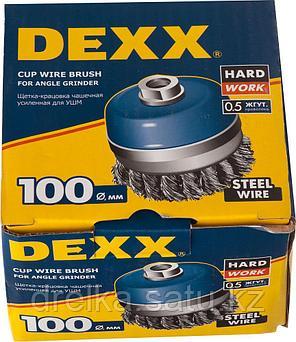 DEXX. Щетка чашечная усиленная для УШМ, жгутированная стальная проволока 0,5мм, 100ммхМ14, фото 2