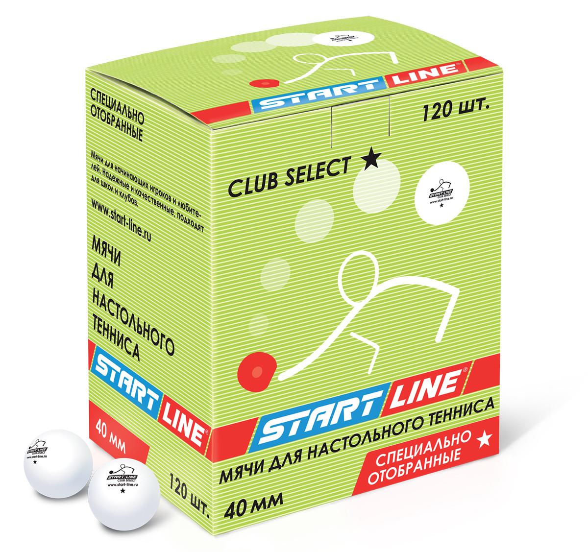 Мячи для настольного тенниса  CLUB SELECT 1*, 120 мячей в упаковке, белые