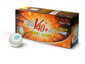 Мячи для настольного тенниса DOUBLE FISH 40+ 1*, 10 мячей в упаковке, белые. Для начинающих игроков.