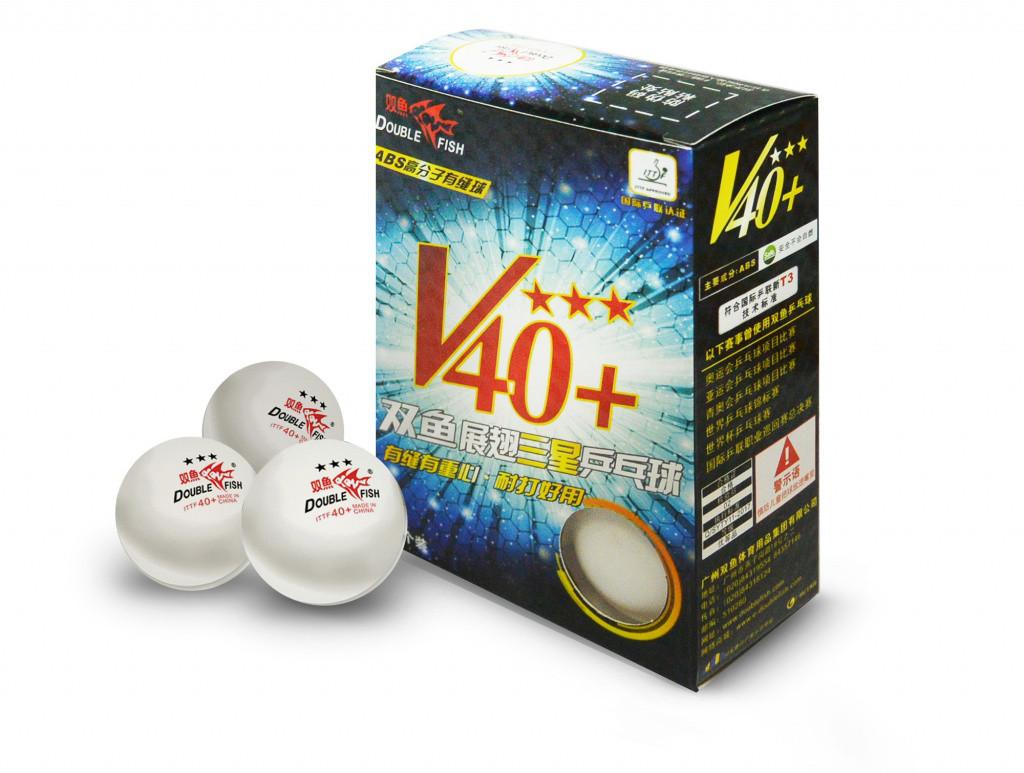Мячи для настольного DOUBLE FISH 40+ 3*, 6 мячей в упаковке, белые. Для профессионалов.