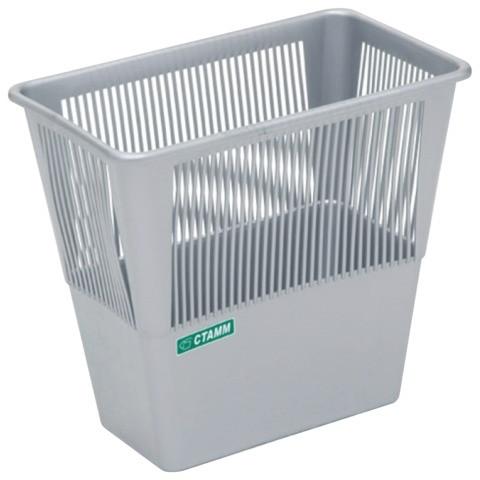 Корзина для мусора СТАММ 12 литров, прямоугольная, серая