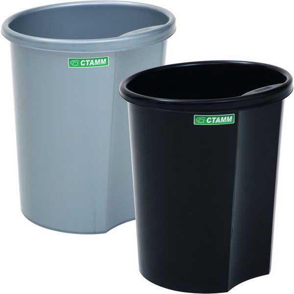 Корзина для мусора СТАММ 12 литров, цельная, черная