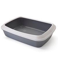 Лоток для кошек Savic lsis прямоугольный с бортиком (бело-серый)