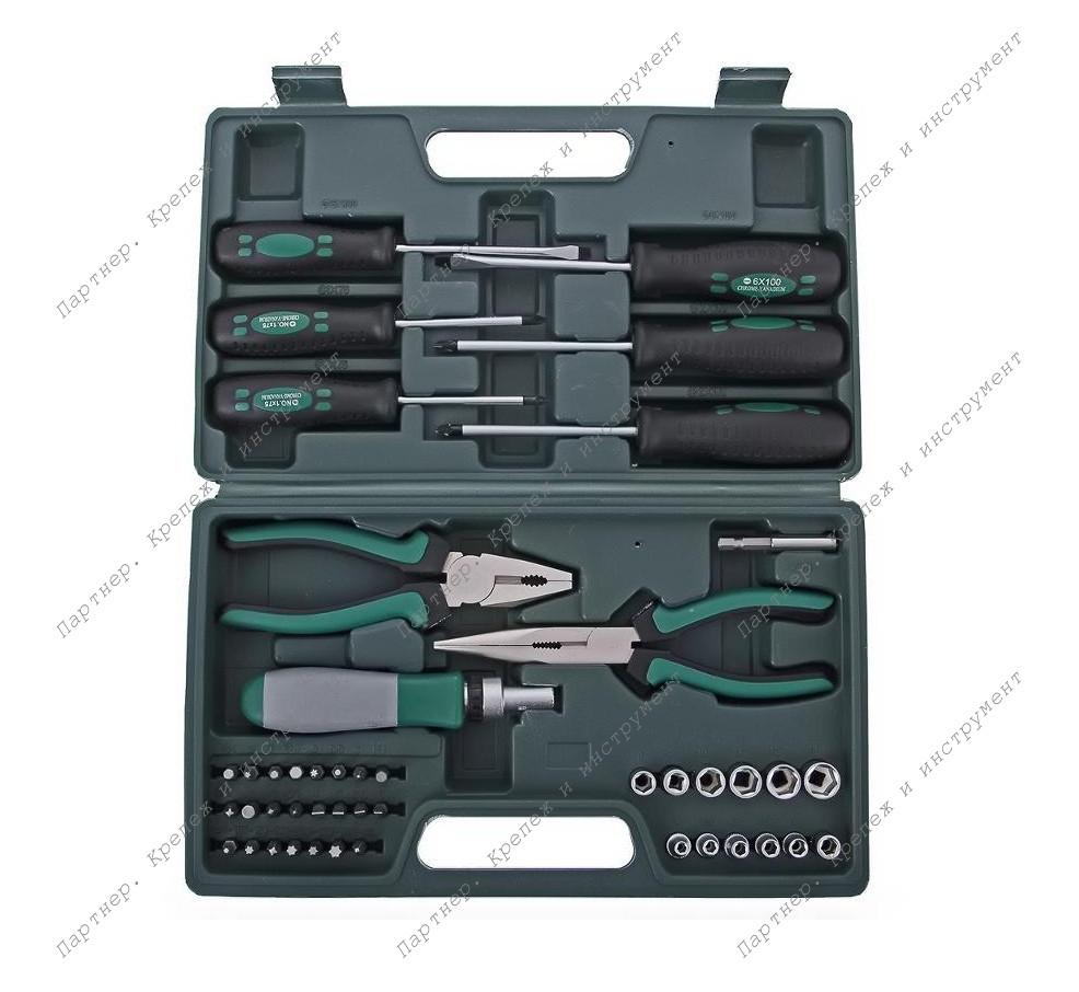 (65143) Набор инструмента 45 шт. (пассатижи, отвертки, биты)