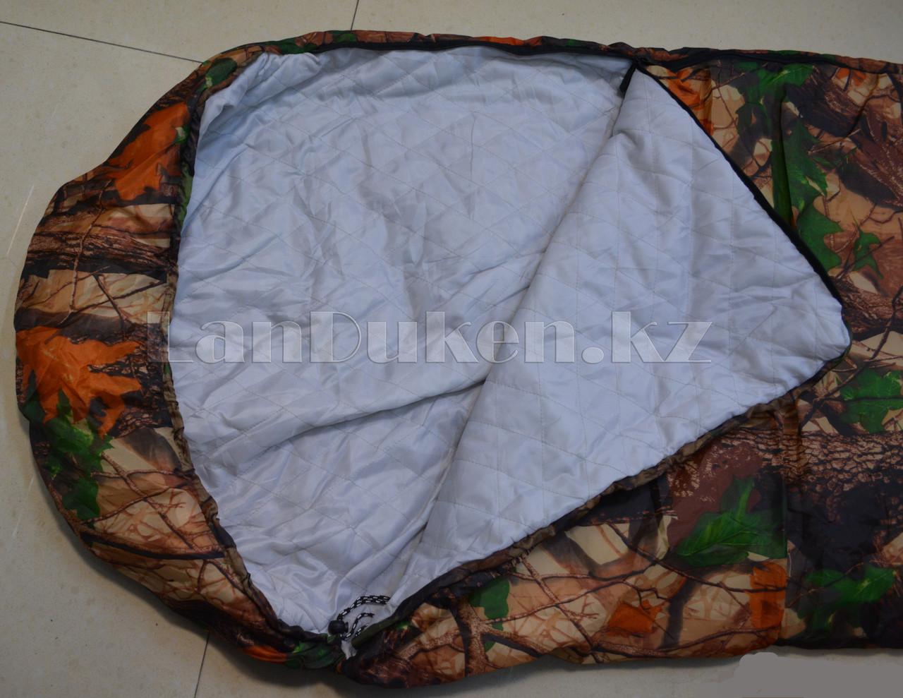 Камуфляжный спальный мешок (под осенний лес) 180х70см с чехлом - фото 2