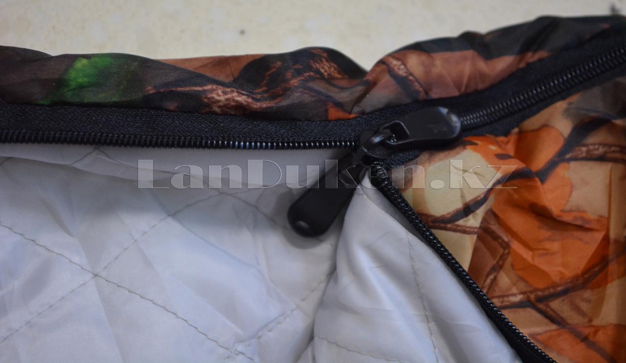 Камуфляжный спальный мешок (под осенний лес) 180х70см с чехлом - фото 4