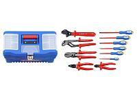 Набор: Губцевый инструмент, диэлектрический, высоковольтный до ~1000В, маслобензостойкая рукоятка,12предм,ЗУБР