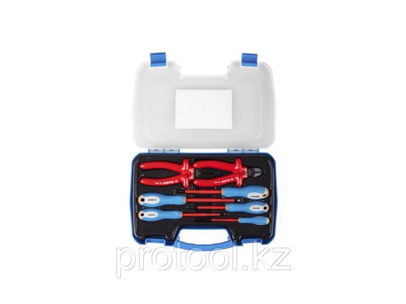 Набор: Губцевый инструмент, диэлектрический, высоковольтный до ~1000В, маслобензостойкая рукоятка, 7предм,ЗУБР