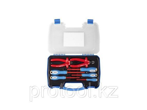 Набор: Губцевый инструмент, диэлектрический, высоковольтный до ~1000В, маслобензостойкая рукоятка, 7предм,ЗУБР, фото 2
