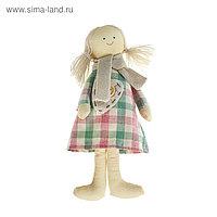 """Мягкая игрушка кукла """"Анютка"""" сердце на платье, цвета МИКС"""