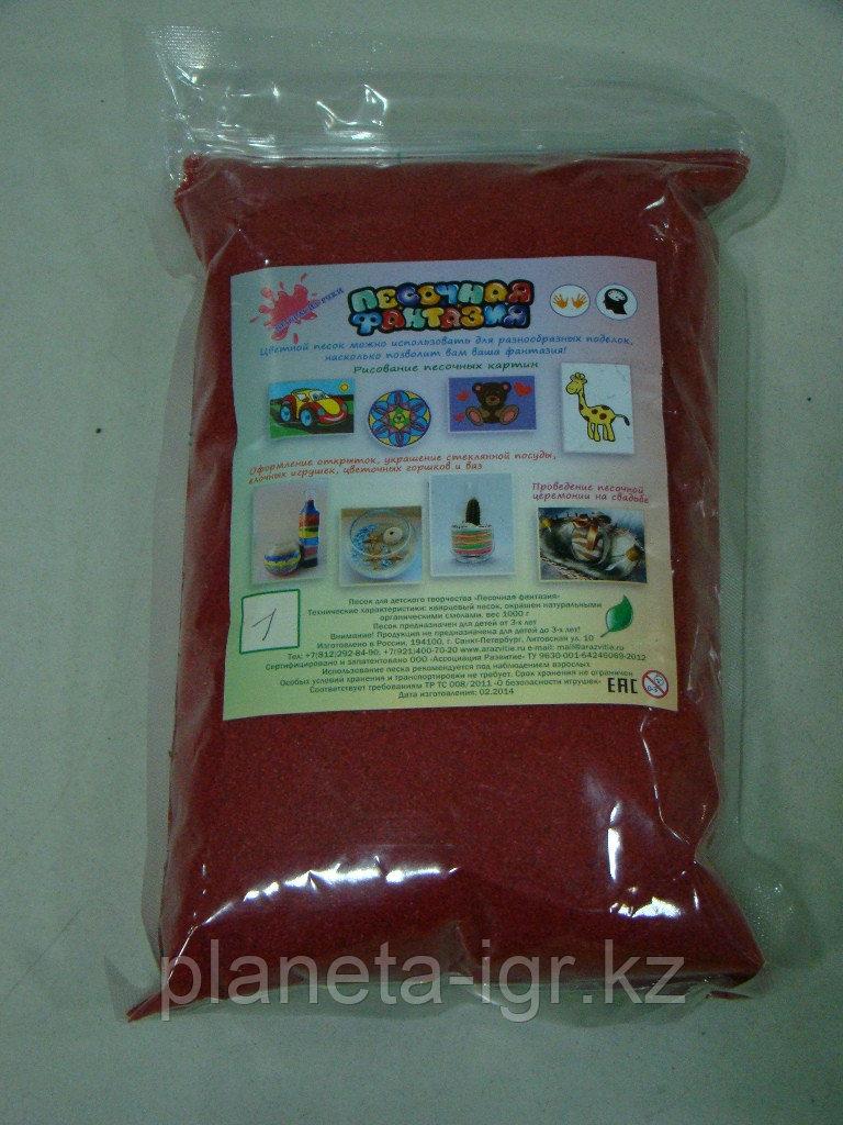 """Цветной песок. Песок в пакете """"Красный"""" (№1) арт.401 (1000гр.)"""
