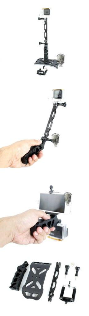 Тактический алюминиевый стенд. Площадка, удлинитель, ручка, крепление для смартфона, 2 болта черный, серебро