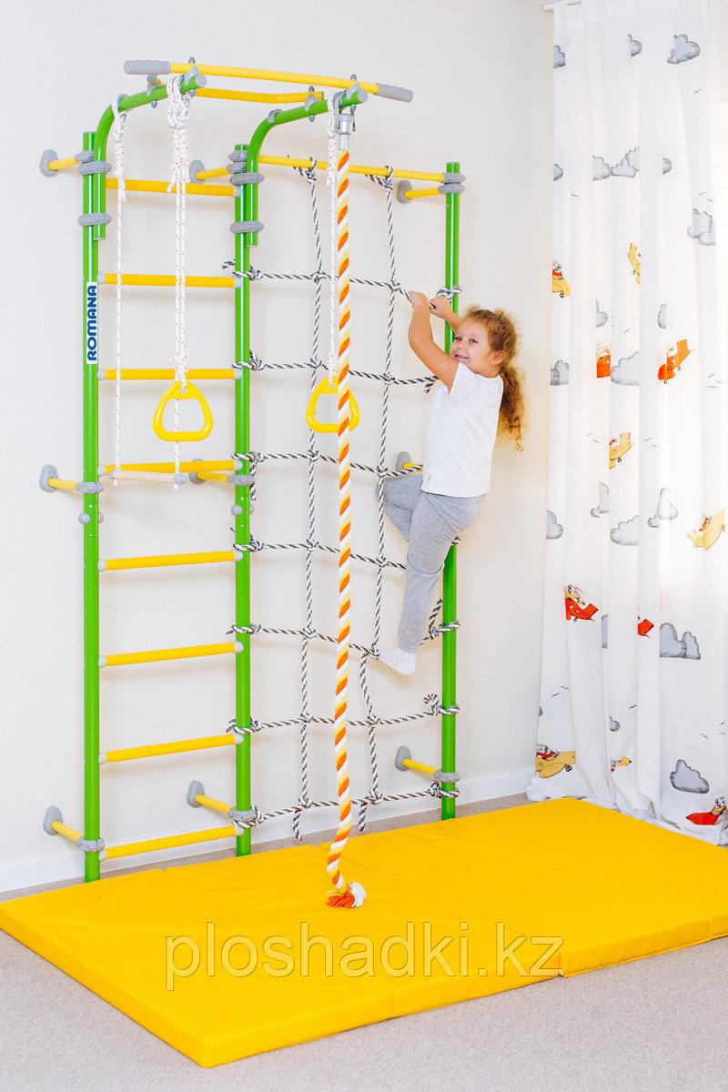 Шведская стенка Romana 0350, сетка лазалка, канат. трапеция, турник подвижный, кольца гимнастические