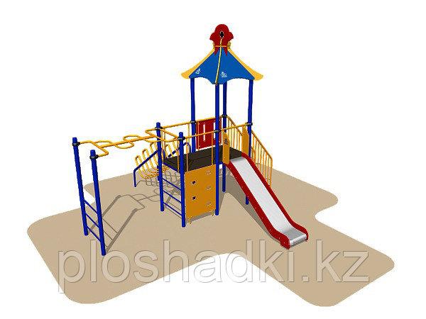Игровой комплекс Romana, рукоход, лаз, лестница, горка, домик с крышей