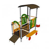 Трактор Romana детский, с крышей, скамейками, горкой, трапом