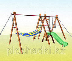 Уличный спортивный комплекс Kampfer Sunny Hill, горка, кольца, качели, лестница веревочная