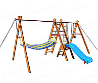 Уличный спортивный комплекс Kampfer Sunny Hill (голубой), качели, горка, гамак, лестница веревочная