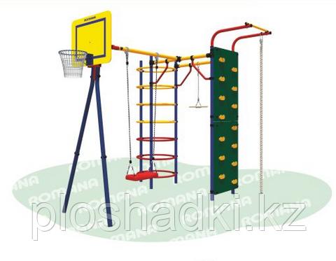 Уличный спортивный комплекс Romana Джунгли, щит баскетбольный, канат, качели, кольца гимнастические