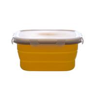 Складной квадратный силиконовый контейнер 1900 мл. Цвет желтый