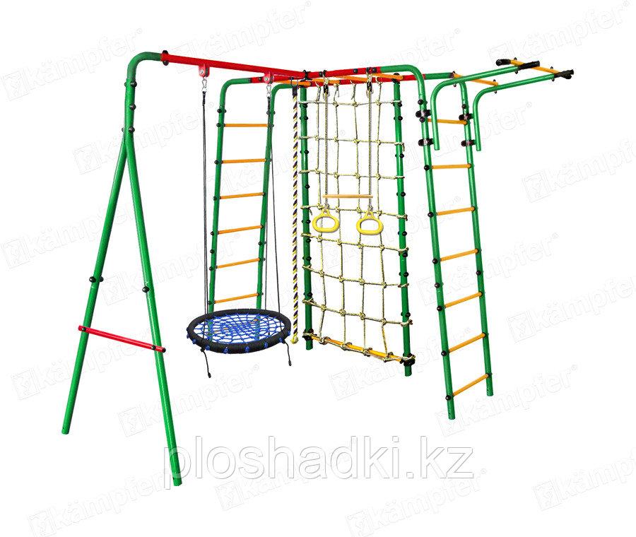 Уличный детский спортивный комплекс Kampfer Kindisch, кольца, канат, канатный лаз, качели-гнездо